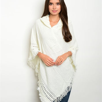 Women Fashion Poncho Ivory Soft Fringe Shawl Vest Sweater Wrap Hooded Casual