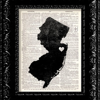 BOGO - I Heart New Jersey - State Map - Map Art Print Personalized - Vintage Dictionary Print - Book Print Page Art Vintage Book Art