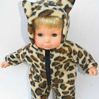 "American Girl Bitty Baby Clothes 15"" Doll Clothes Boy or Girl 1 (one) Zip Up Cat Halloween Polar Fleece Costume"