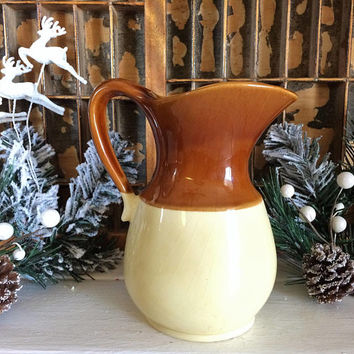USA Pitcher, Retro Pitcher, Brown Pitcher, Ceramic Yellow Pitcher, USA Pottery, Vintage Pottery, USA Yellow Pitcher, Holiday Pitcher, Retro