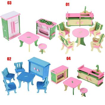 Mini Wooden Simulation Dollhouse Furniture Set Kids Children Educational Toy Room Bedroom Pretend Play Dolls Toy Kids Xmas Gift