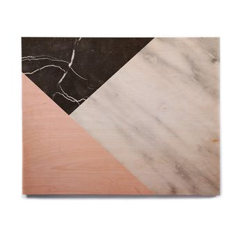 "Cafelab ""Marble Collage With Pale Pink ""  Gray Pink Birchwood Wall Art"