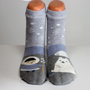 Eskimo Polar Bear Socks Fishing Colorful Socks Snowy Women Girls Boys Socks Women Socks Funny Socks Ankle Socks Animal Socks Cute Fun Socks