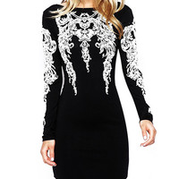 Black Tattoo Print Long Sleeve Backless Bodycon Dress