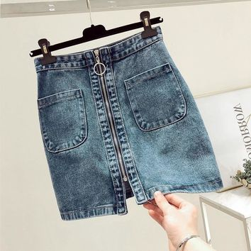 INS 2019 SUMMER fashion Women High Waist Front zip Denim Skirt Casual Zipper A-line Mini Skirts Pocket Wrapover Jeans Skirt