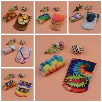 Die Tye, Lion, Pug, Ice Cream, Smores, Camp, Slipper Socks Funny Crazy Cool Novelty Cute Fun Funky Colorful