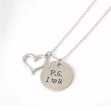 P.S. I Love You Stamped Necklace