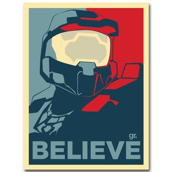 HALO 4 5 Guardians Master Chief Art Silk Fabric Poster Print 13x20 24x36 inch Vedio Game Vintage Pictures for Room Wall Decor 13