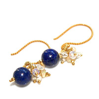 Lapis Lazuli Earrings Ethiopian Opal Cluster Deep Blue Artisan Gemstone Everyday Earrings Jewelry