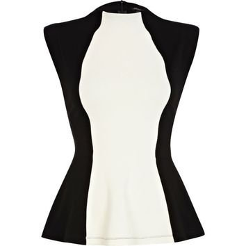 Black and white funnel neck peplum top - peplum tops - tops - women
