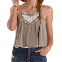 Olive Crochet-Trim Strappy Swing Crop Top by Charlotte Russe