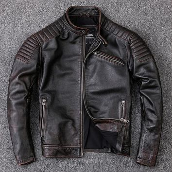 Free ,Brand new cowhide clothing,man's 100% genuine leather Jackets,fashion vintage motor biker jacket.cool warm coat