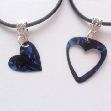 Blue guitar pick necklace his and her's heart set, heart best friends set | eBay