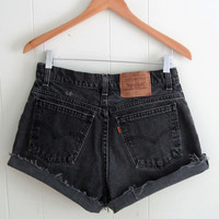 Vintage Black Levi's High Waisted Cut Off Denim Shorts Mom Jean Cuffed Faded 30""