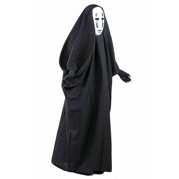 a37e427c0f00c No Face Man Spirited Away Cosplay Costume with Mask gloves for Halloween  Costume Anime Miyazaki Hayao