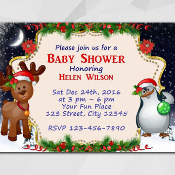 Christmas Baby Shower Invitation, Instant Download Editable PDF, Moose and Penguin