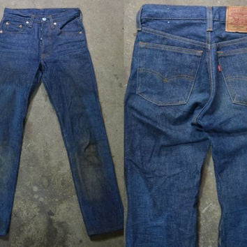 Vintage Made In The USA Unwashed Levi 501 Distressed Farm Fresh Jeans 27x31
