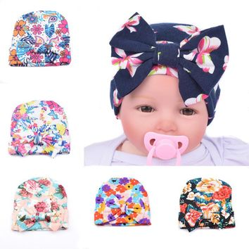 DreamShining Design Baby Hats Printed Bow Girls Knitted Cap Beanie Cotton Hat Newborn Infant Winter Warm Caps Accessories