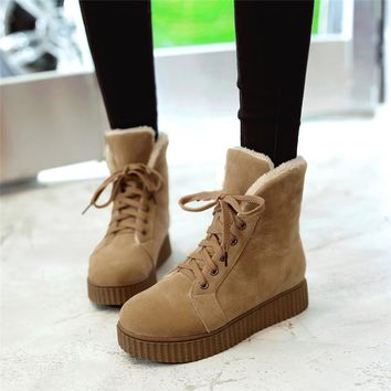 YMECHIC 2018 Winter Boots Women Punk Platform Goth Shoes Plus Big Size Street Rock Ladies Lace Up Ankle Snow Motorcycle Boots