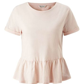 Nude Shortsleeve Peplum Tee - Miss Selfridge