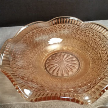 Starburst Carnival Glass Candy Dish with Scalloped Edges