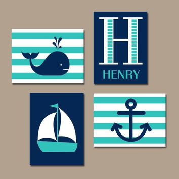 Hamptons WHALE Nursery Wall Art, Canvas or Print, Sailboat Anchor, Baby Boy Decor, Nautical Nautical Boys Bedroom, Set of 4, Above Crib