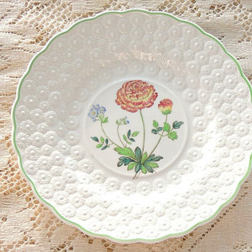 On Sale Vintage Spode Botanical  Plate, Flowers of the Month #1, Ranunculus Collectible Plate, Signed Numbered 9366, Cabinet Plate Ca. 1932
