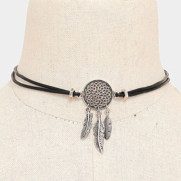 Boho Silver Dreamcatcher Charm Black Leather Cord Choker Necklace