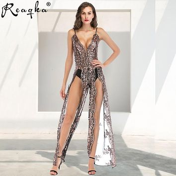 2019 Sexy Women Sequins Maxi Long Dress Summer Strap Plunge V Backless High Split Luxury Nightclub woman Party Dresses Vestido