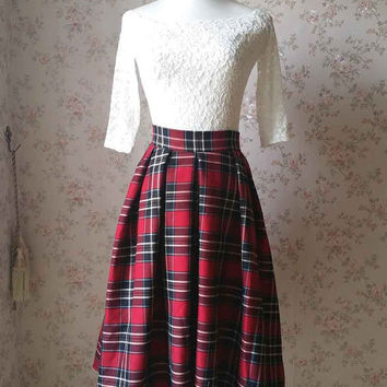 2016 Autumn Plaid Skirt /Pleated Midi Skirt with Pockets /Vintage-inspired Checked Skirt /High Waist Tea Length Skirts - Women Plaid Skirts