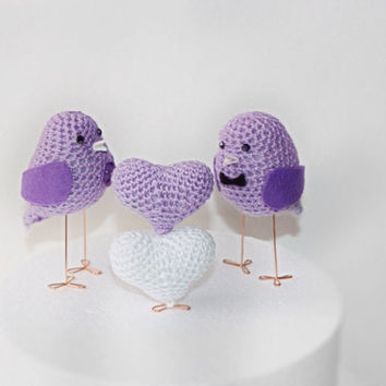 Love Birds Cake Topper and two mini hearts set, Anniversary gift, Wedding Birds, Cake Topper