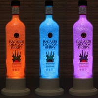 Barcardi Dragon Berry Color Changing LED Remote Controlled Eco Friendly rgb LED Bottle Lamp/Party Light -French Vodka -Bodacious Bottles-