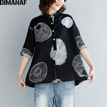 DIMANAF Women Blouse Shirts Plus Size Female Clothing Print Paisley Cotton Thin Basic Tops Loose Half Sleeve Blouse Summer