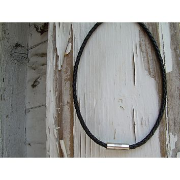 Mens Leather Necklace - Black Braid with Stainless Steel Magnetic Clasp, Leather Necklace, Mens Jewelry, Mens Necklace, Mens Gift