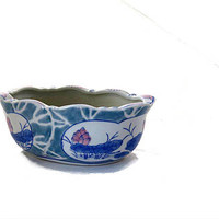 Small hand painted asian oval ceramic lotus planter