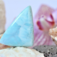 Large triangle larimar cab foamy sky blue dolphin cabochon pectolite beach Caribbean marbled stone 2g 10ct ooak bohemian