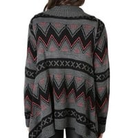 Aztec Print Cozy Sweater with Open Waterfall Front