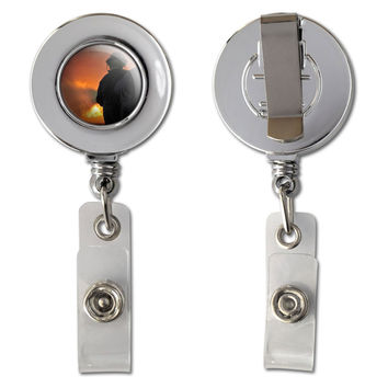 Firefighters fighting Fire - Firemen Retractable Reel Chrome Badge ID Card Holder