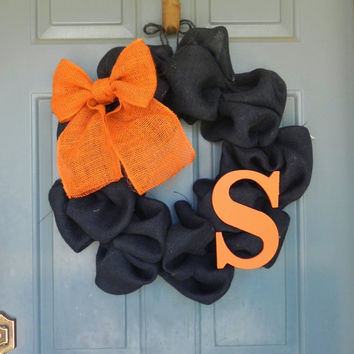 Burlap Halloween Wreath with Bow and Monogram - Customize your Colors and Make it Year round