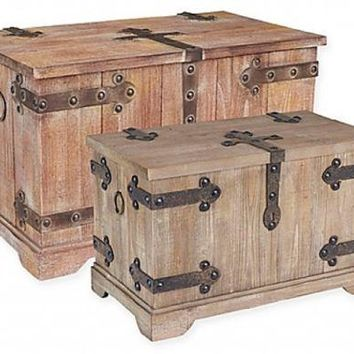 Storage Trunk Set Victorian Wooden Bedroom Living Dorm Treasure Chest Accent