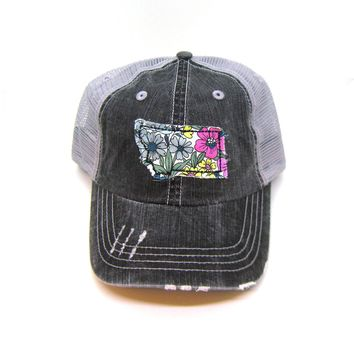 Montana Trucker Hat - Distressed - Floral Fabric State Cutout