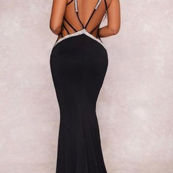Black-Silver Patchwork Sequin Mermaid Lace-up Backless Deep V-neck Prom Elegant Maxi Dress