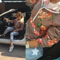 On Sale Hot Deal Sports Jacket Autumn Women's Fashion Patchwork Floral Print Long Sleeve Baseball [11335936903]