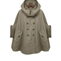 green cape trench cape GREEN double breasted button by FM908