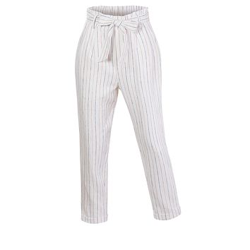 High Waisted Linen Blend Striped Paper Bag Belted Trouser Pants