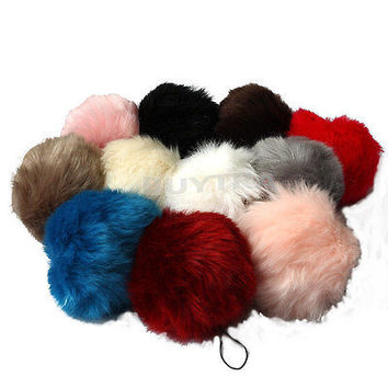 New Lovely Genuine Faux Rabbit Fur Ball Key Chain Cell Phone Car Pendant