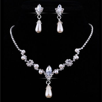 Bridal Wedding Faux Pearls Rhinestone Necklace Water Drop Earrings Jewelry Set [7983225479]
