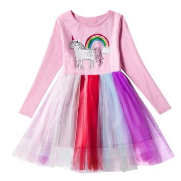 Rainbow Unicorn Autumn Long Sleeve Dress Kids Colorful tutu Dresses for Girls Christmas Party Clothing vestido de festa infantil