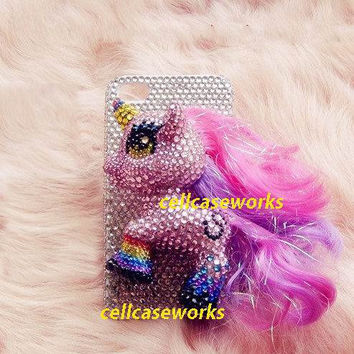 3D Bling Swarovski My Little Pony iPhone 4 Case by cellcaseworks