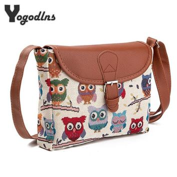 2017 Summer Women Messenger Bags Flap Bag Lady Canvas Cartoon Owl Printed Crossbody Shoulder Bags Small Female Handbags